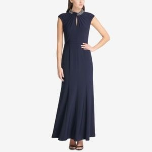Vince Camuto Embellished Mock-Neck Gown Navy Blue
